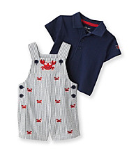 Little Me® Baby Boys' Blue Crab Schiffli Shortall Set