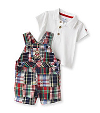 Little Me® Baby Boys' Blue Plaid Teddy Bear Shortall Set