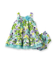 Little Me® Baby Girls' Turquoise Tropical Smocked Dress