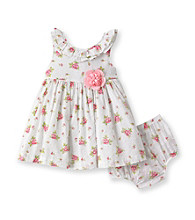 Little Me® Baby Girls' White/Pink Sweet Rose Dress Set