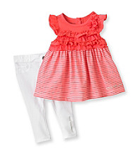 Calvin Klein Baby Girls' Coral/White 2-pc. Ruffle Jeggings Set