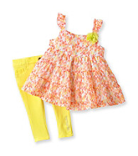 Calvin Klein Baby Girls' Orange/Yellow 2-pc. Floral Print Jeggings Set