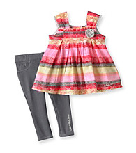 Calvin Klein Baby Girls' Grey/Pink 2-pc. Floral Striped Jeggings Set