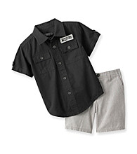 Kenneth Cole® Baby Boys' Black/Grey Poplin Shorts Set