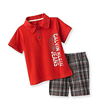 Calvin Klein Baby Boys' Red Solid Polo and Shorts Set