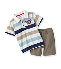 Calvin Klein Baby Boys' Blue/Khaki Striped Polo and Shorts Set
