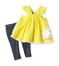 Calvin Klein Baby Girls' Yellow 2-pc. Tunic and Jeggings Set
