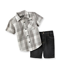 Kenneth Cole® Baby Boys' Grey Plaid Woven and Shorts Set
