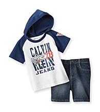 Calvin Klein Baby Boys' Grey/Navy Raglan Hoodie and Shorts Set