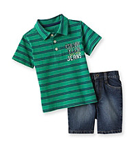 Calvin Klein Baby Boys' Green/Navy Striped Polo and Shorts Set