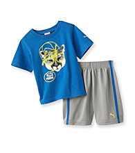 PUMA® Baby Boys' Blue Short Sleeve Turf Shorts Set
