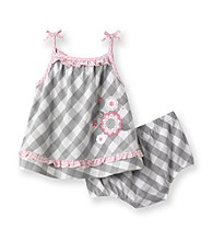 Little Me® Baby Girls' Grey Checkered Sunsuit