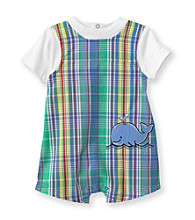 Little Me® Baby Boys' Blue Plaid Whale Sunsuit