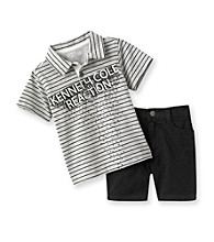 Kenneth Cole® Baby Boys' Grey Striped Polo and Shorts Set