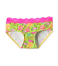 St. Eve® Intimates Girls' 6-16 Green Neon Flowers and Flamingos Hipster Panties