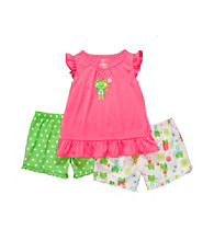 Carter's® Girls' 12M-4T Pink/Green 3-pc. Frog Pajama Set