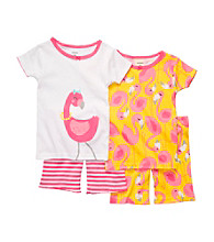 Carter's® Girls' 12M-4T White/Yellow 4-pc. Flamingo Pajama Set