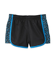 Grane® Girls' 7-16 Black/Turquoise Cheetah Print Mesh Shorts
