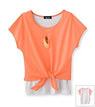 Amy Byer Girls' 7-16 Orange Tie Front Top