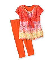 Tempted Girls' 4-6X Coral/Orange Circle Print Shrug Set