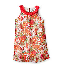 Rare Editions® Girls' 7-16 Coral Multi Floral Dress