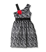 Rare Editions® Girls' 7-16 Black/White Zebra Dress with Pink Flower