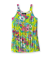 Amy Byer Girls' 7-16 Green Floral Print Tank