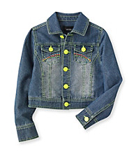 Amy Byer Girls' 7-16 Denim Jacket with Neon Accents