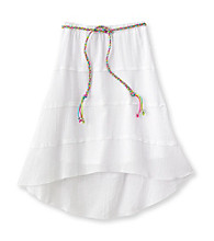 Amy Byer Girls' White Hi-Low Skirt with Braided Belt