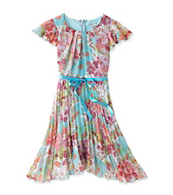 Speechless® Girls' 7-16 Aqua Floral Dress with Bow