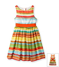 Bonnie Jean® Girls' 7-16 Multi Striped Open Back Flounce Dress