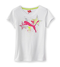 PUMA® Girls' 7-16 White V-Neck Core Star Tee