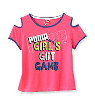 PUMA® Girls' 7-16 Pink Got Game Cold Shoulder Tee
