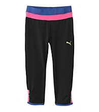 PUMA® Girls' 7-16 Black Colorblock Cinched Capris