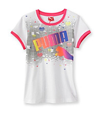 PUMA® Girls' 7-16 White Ringer Heart Tee