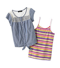 Jessica Simpson Girls' 7-16 Saffrom Multi Striped Tie Front Top