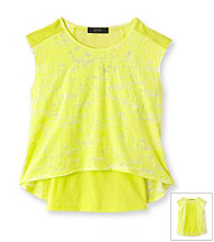 Jessica Simpson Girls' 7-16 Yellow Chamomile Burnout Top