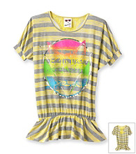 Belle du Jour Girls' 7-16 Yellow Striped Cat Emblem Tee