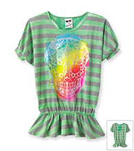 Belle du Jour Girls' 7-16 Green Striped Skull Emblem Tee