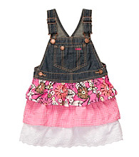 OshKosh B'Gosh® Girls' 2T-4T Denim Jumper with Pink Floral Skirt