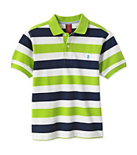 Izod® Boys' 4-20 Green/Navy Short Sleeve Striped Polo