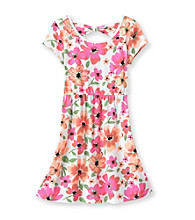 Miss Attitude Girls' 7-16 Multi Floral Bow Back Dress
