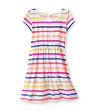 Miss Attitude Girls' 7-16 Multi Striped Bow Back Dress