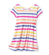 Little Miss Attitude Girls' 2T-6X Multi Striped Bow Back Dress