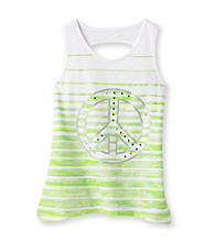 Miss Attitude Girls' 7-16 Ombre Peace Keyhole Back High-Low Graphic Tank