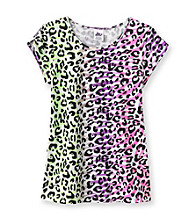 Miss Attitude Girls' 7-16 Animal Print Keyhole Sleeve Tee