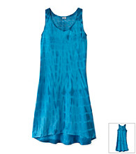 Miss Attitude Girls' 7-16 Tie-Dye High-Low Crochet Back Dress