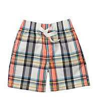 OshKosh B'Gosh® Boys' 2T-7 Blue/Orange Plaid Pull-On Shorts