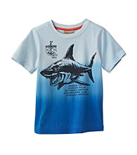 Ruff Hewn Boys' 2T-7 Bell Blue Short Sleeve Dip Dye Shark Graphic Tee