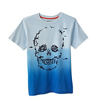 Ruff Hewn Boys' 8-20 Bell Blue Short Sleeve Dip Dye Skull Graphic Tee